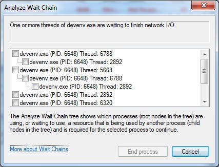 VS2010 not responding solved with Resource Monitor (3/4)