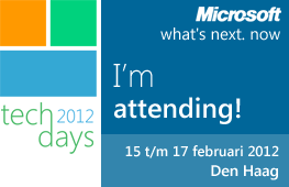 I'm attending Techdays 2012 on 16 and 17 Februari in The Hague