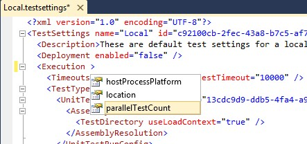screenshot of testsettings in XML editor showing parallelTestCount attribute in Execution tag