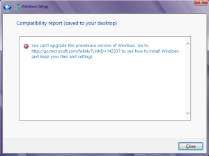 windows 8 upgrade not possible message