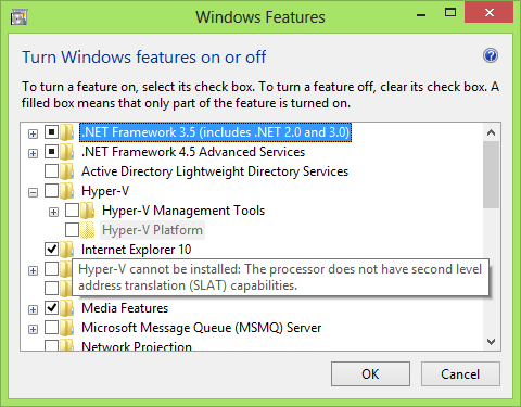Turn Windows features on or off with Hyper-V platform grayed out