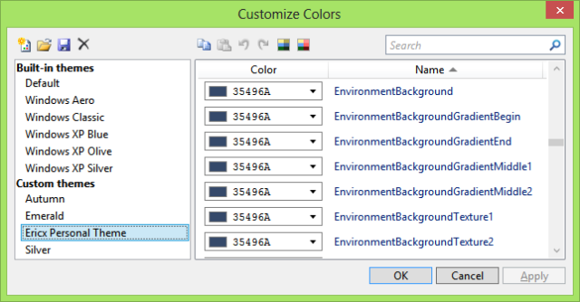 Background Color settings in Visual Studio Color Theme Editor