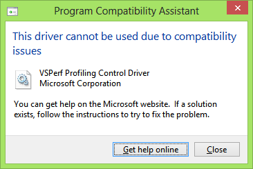 Profiler incompatible message