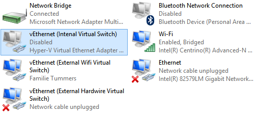 Hyper-V Internal Virtual Switch disabled