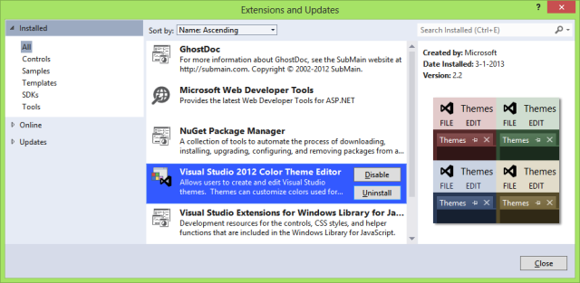 Visual Studio 2012 Color Theme Editor