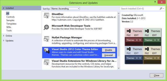 Visual Studio 2012 Color Theme Editor