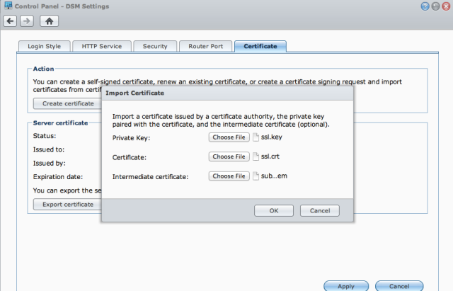 Resolve certificate error for Synology Diskstation part 3 of 4