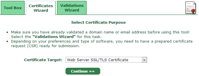 Select Certificate Purpose