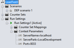 Load test scenario Run Settings with Context Parameters