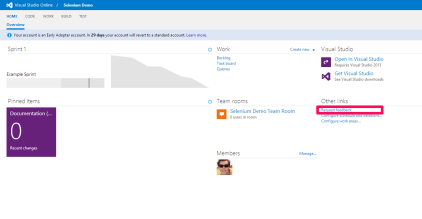 Locate the Request Feedback link on the visual studio online project portal