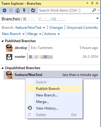 how to delete branch git visual studio