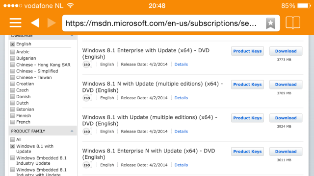 List of available downloads on MSDN subscription