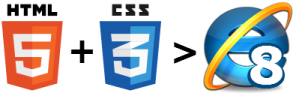 html5 + css3 > ie8