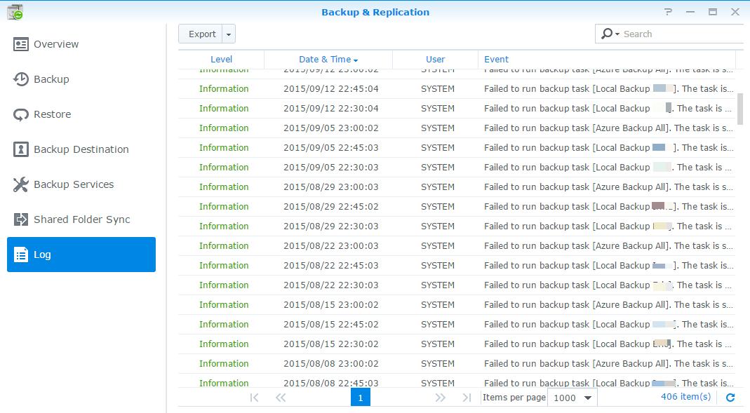 Synology backup to Azure stuck |  NET Development by Eric