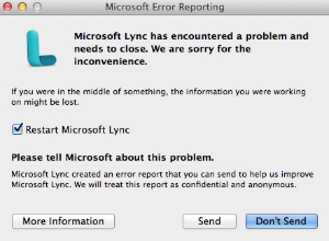 Lync for mac Error