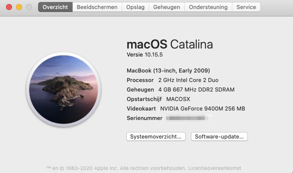 macOS Catalina on macbook 5,2