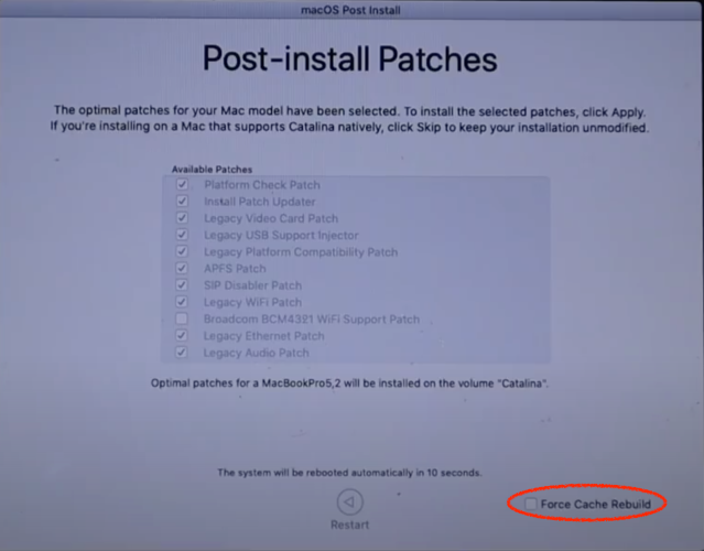 force cache rebuild option in Post-install patches screen